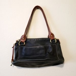 Fossil Leather Black and Brown purse/handbag